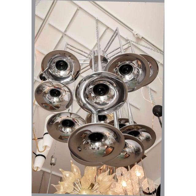 Rare large trumpet chandelier, from Reggiani, Italian designer. 12 trumpets with light bulb, incandescent, medium base....