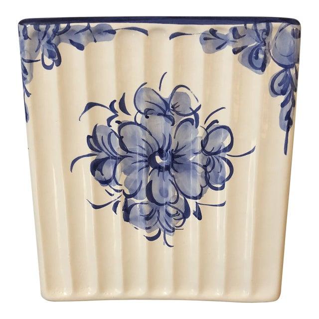 Vestal Alcobaca of Portugal Ceramic Tissue Box For Sale