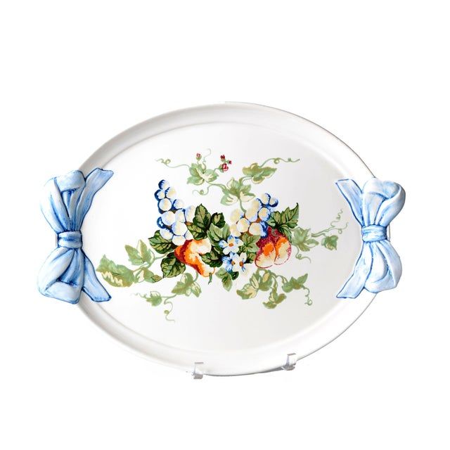 Original Italian hand-painted Platter by Marina Isetta Duval. Signed and labeled underneath.