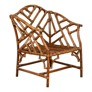 Vintage Burmese Bamboo and Rattan Armchair with Chinese Chippendale Patterns For Sale