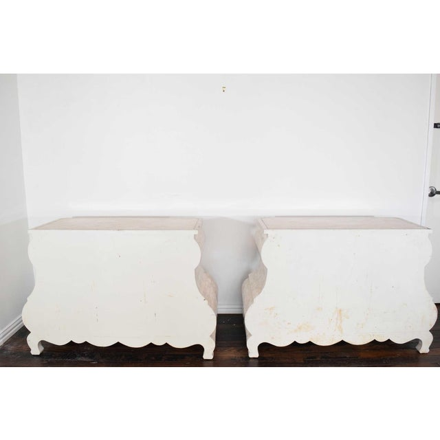 White Maitland Smith Tessellated Marble Bombe Chests - A Pair For Sale - Image 8 of 10
