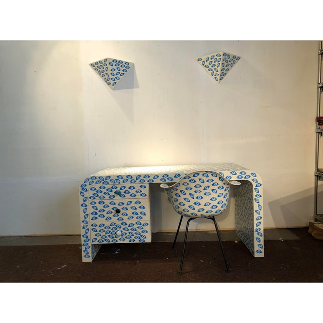 1960s Mid-Century Modern Karl Springer Waterfall Desk With Eames Zenith Chair and Sconces Evil Eye Set - 4 Pieces For Sale - Image 12 of 12