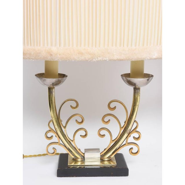 Pair of Art Deco Table Lamps in Brass and Silver with Shades, France, 1920s For Sale In West Palm - Image 6 of 9