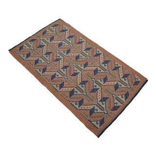 """Vintage Masterpiece Braided Rug. Hand Woven Small Area Rug - 3' 7"""" X 6' For Sale"""