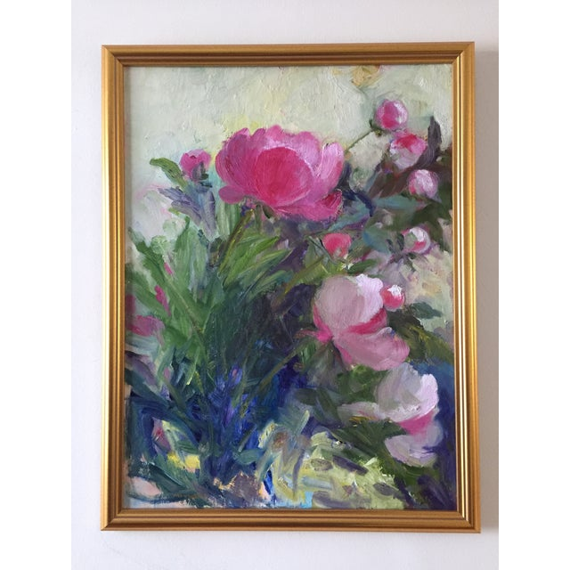 """""""Peonies"""" Contemporary Plein Air Garden Scene Oil Painting by Marina Movshina, Framed For Sale - Image 4 of 5"""