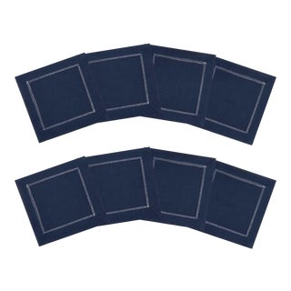 Navy Linen Cocktail Napkins with Ivory Contrast Hemstitch - Set of 8 For Sale