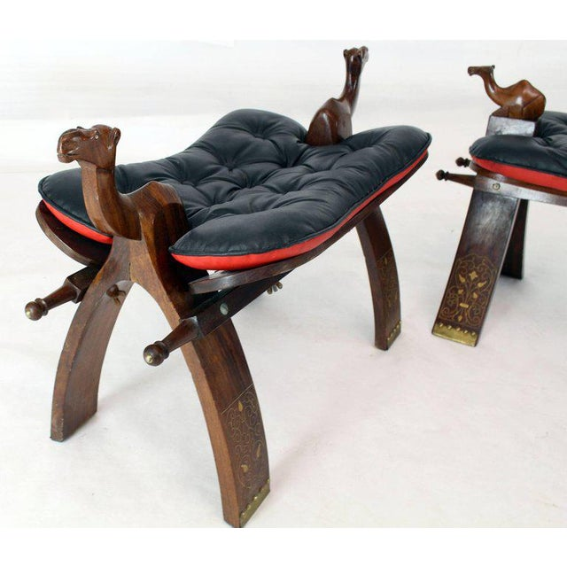 Pair of Carved Rosewood Camel Benches Stools For Sale - Image 4 of 8