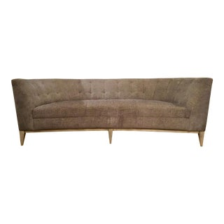 Caracole Modern Gray Tufted Curved Sofa For Sale