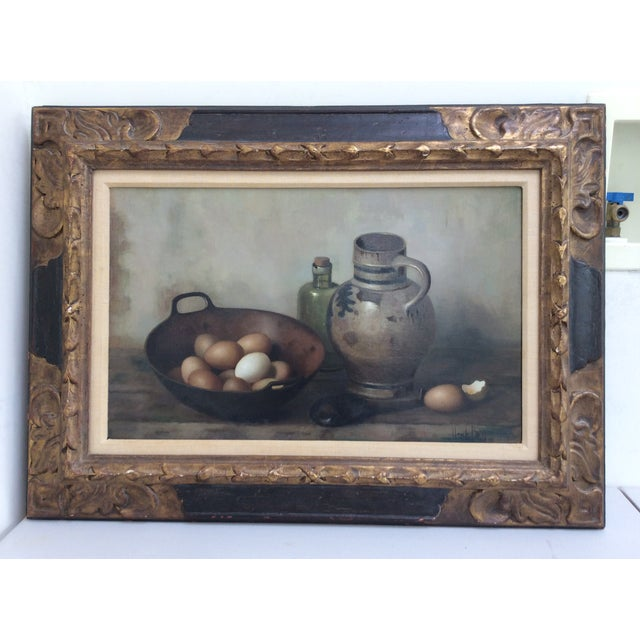 Green Henk Bos Original Still Life Oil Painting For Sale - Image 8 of 9
