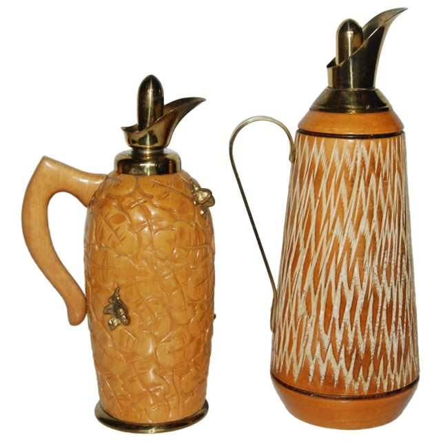 Aldo Tura Wood & Brass Decanters - A Pair For Sale - Image 11 of 11