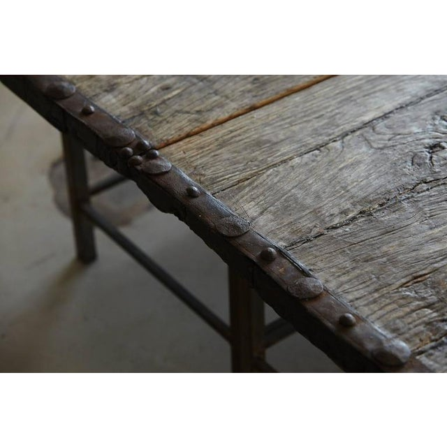 Low Antique Chinese Gate Doors Coffee Table on Custom-Made Welded Metal Base - Image 6 of 10