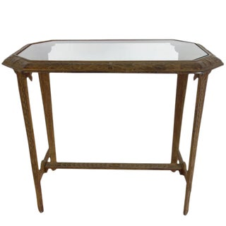 Art Deco Cast Iron and Glass Side Table For Sale