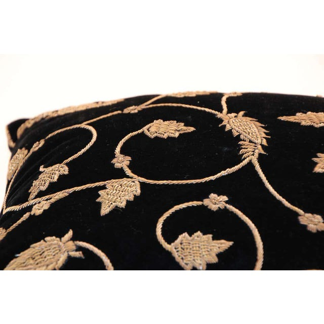 Black Black Silk Velvet Throw Pillow Embroidered with Gold Design For Sale - Image 8 of 11