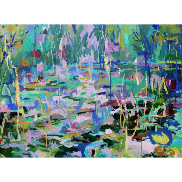 Monumental Lily Pond Oil Painting at Monet's Garden For Sale In Los Angeles - Image 6 of 12