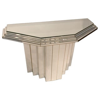 Sky Scraper Mirrored Art Deco Style Console Table For Sale