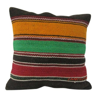 Vintage Handmade Striped Turkish Kilim Pillow Cover For Sale