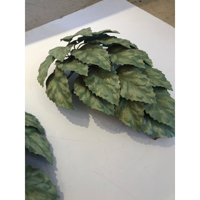 Farmhouse Leaf Motif Green Tole Wall Sconces- a Pair For Sale - Image 3 of 9