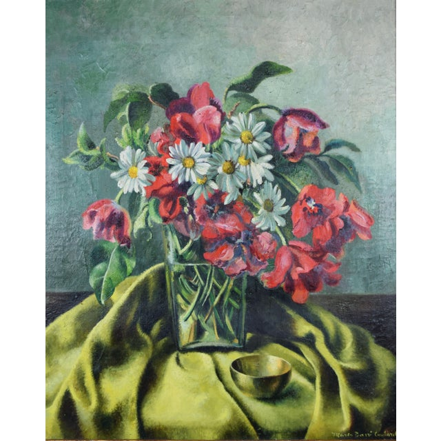 Vintage Modernist floral still life painting of a vase with tulips and daisies against a turquoise background. Oil on...