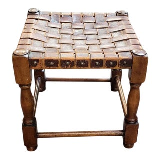 English Oak and Leather Stool C.1920s For Sale