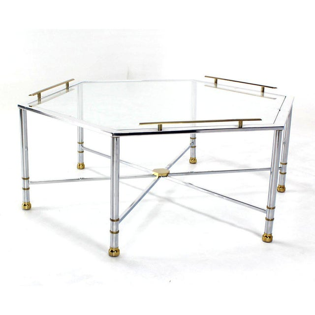 Chrome Brass Glass Hexagon Coffee Table Maison Jansen For Sale - Image 4 of 8