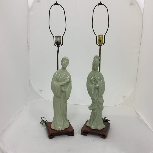 Green Tall Asian Man and Women Lamps- a Pair For Sale - Image 8 of 8