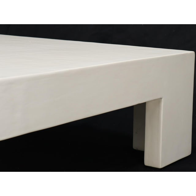 Robert Kuo Large Square White Enamel Lacquer Coffee Table For Sale - Image 10 of 13