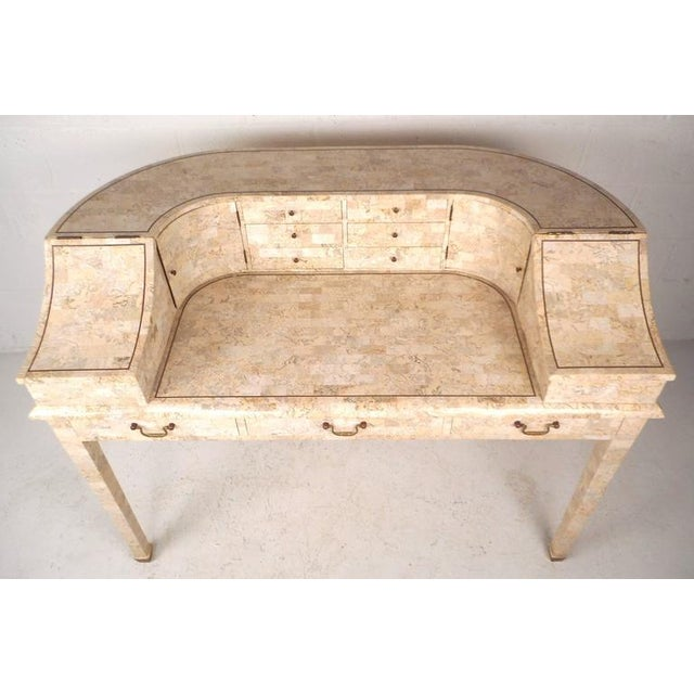 Maitland-Smith Mid-Century Modern Writing Desk in Tessellated Stone - Image 7 of 7