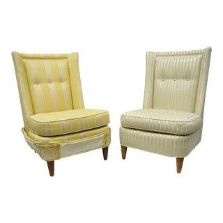 Paul Laszlo Mid-Century Modern Upholstered Barrel Back Slipper Lounge Chair - a Pair For Sale