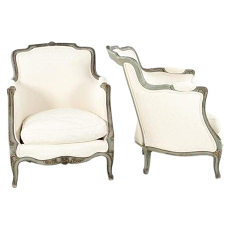 Louis XVI Style Bergere Chairs - A Pair - Image 1 of 6
