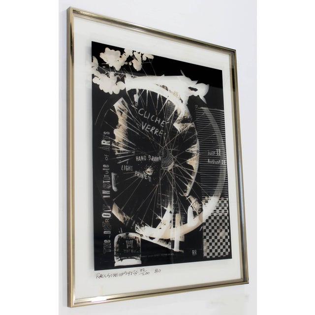 For your consideration is a framed, signed and numbered photolithograph on transparent mylar by Robert Rauschenberg,...