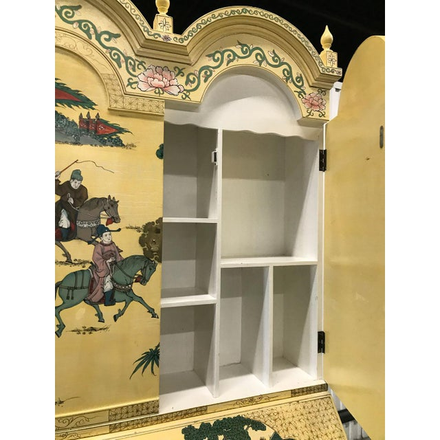 Brass Vintage Chinoiserie Hand-Painted Secretary For Sale - Image 7 of 12