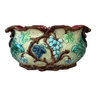 French Majolica Grapes Jardiniere Circa 1880 For Sale