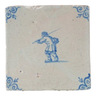 17th Century Antique Delft Blue White Porcelain Tile For Sale
