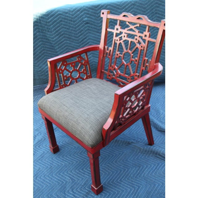 This fabulous accent chair is no longer available through Uttermost. A distressed finish on this ornately carved accent...