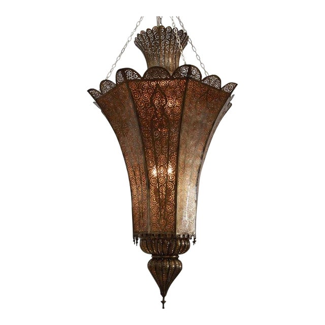 Oversized Moroccan Moorish Brass Chandelier For Sale