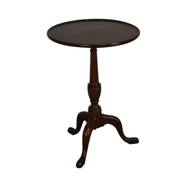 """Henkel Harris Traditional Mahogany 20"""" Round Pedestal Side Table For Sale - Image 13 of 13"""