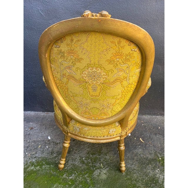 Gold 19th C. English Giltwood Armchairs - a Pair For Sale - Image 8 of 13