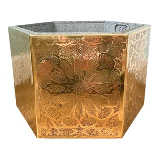 20th Century Arabesque Brass Moroccan Style Planter on Wheels For Sale