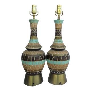 Vintage Mosaic Tile Lamps - a Pair For Sale
