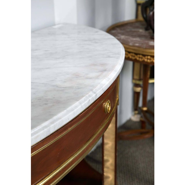 Jansen Marble Top Demilune Console Tables - A Pair - Image 2 of 9