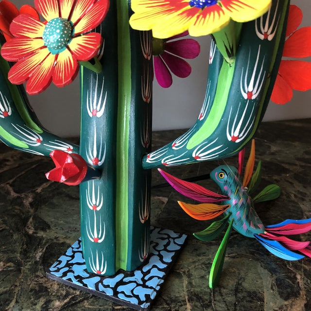 Green Mexican Hand Carved Alebrijes - a Pair For Sale - Image 8 of 10