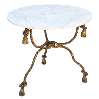 Gilded Iron Rope-and-Tassel Table with Carrara Marble Top