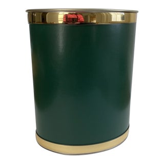 Emerald Green Faux Leather Oval Wastebasket For Sale