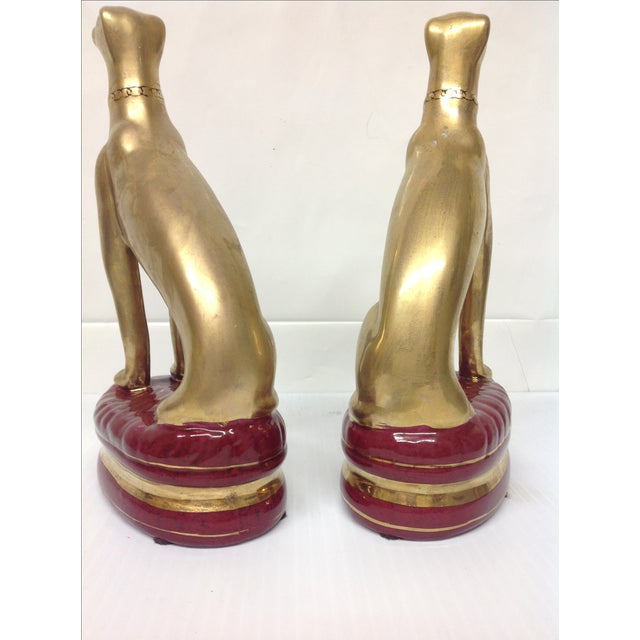 Hollywood Regency Porcelain Whippet Statues - Pair - Image 6 of 6