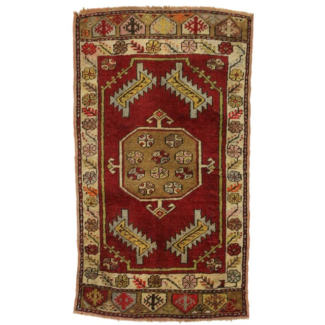 Vintage, hand knotted wool Turkish Yastik rug with multicolor designs. Nice abrash (Color tone variations). Not perfectly...