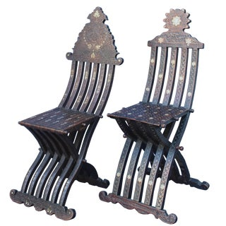 Near Pair of Syrian Scribe Chairs For Sale