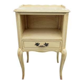 French Painted Distressed Tall Nightstand End Side Table by Rway Furniture For Sale