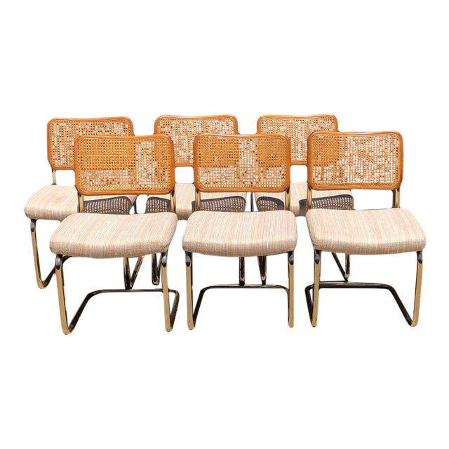 1980s Vintage Chrome Cantilever Tubular Upholstered Dining Chairs With Cane Back in the Style of Marcel Breuer Set of 6 For Sale