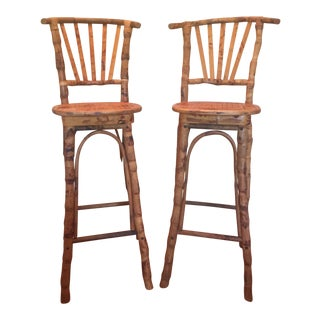 1960s Vintage Tortoise Bamboo Barstools - A Pair