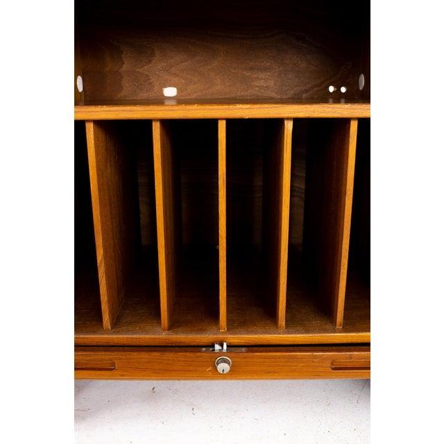 Mid Century Teak Tambour Door Upright Storage Credenza For Sale - Image 11 of 13